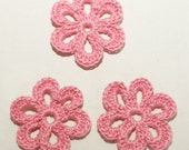 Crochet Flower Embellishments Pink