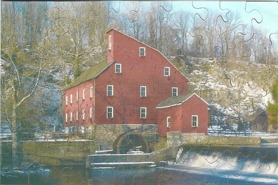 Wooden Jigsaw Puzzle - 4 x 6 with 47 Pieces - mill