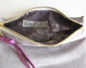 Zipper Pouch / / /  Gray Suede & Silk Lining