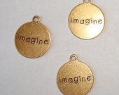IMAGINE Charm Round Antique Gold - 2 Pieces