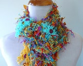 Squiggly Fiber Neck Accent Scarf Multi - turquoise, yellow, red-orange, purple