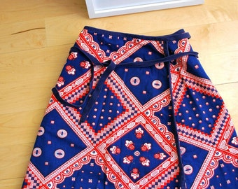 vintage double sided red white blue pattern graphic bohemian wrap festival skirt hippie floral  XS S Extra Small
