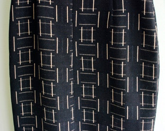 Vintage Deco Wiggle Skirt Black & Gold Mad Men Graphic Geometric Grid Print S M