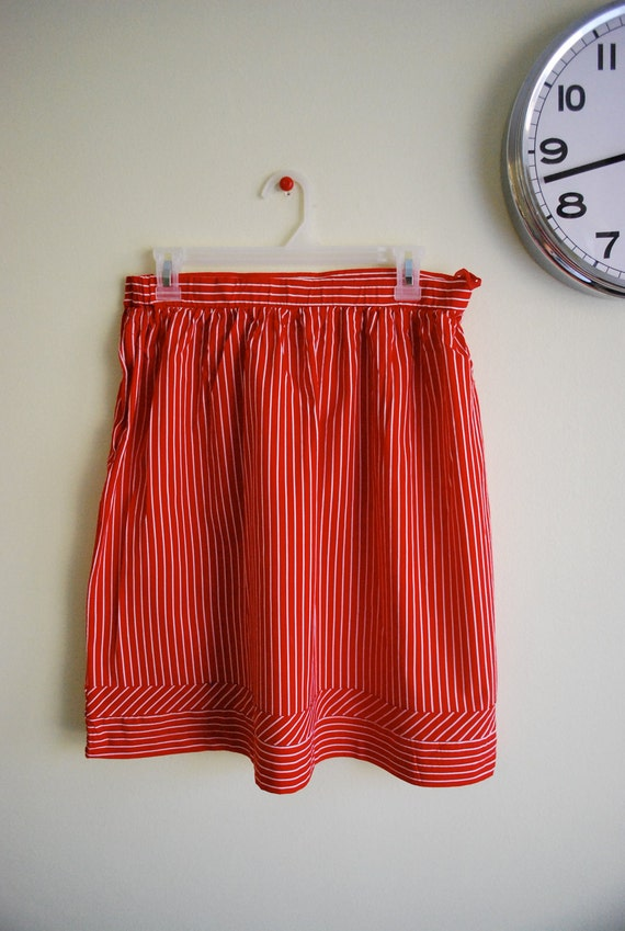 Vintage Red & White Peppermint Candy Striped Skirt M L
