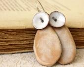 Copper Beige White Enamel Earrings Handmade Under 50 MADE TO ORDER