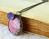 SALE 30% OFF Copper Rhodonite enamel pendant Handmade