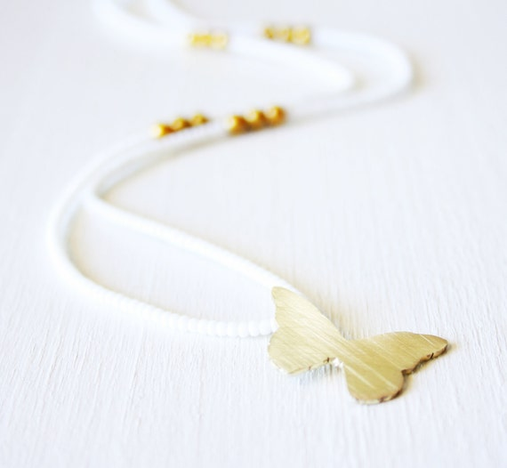 White seed bead with brass Butterfly necklace and Golden Pealrs handmade