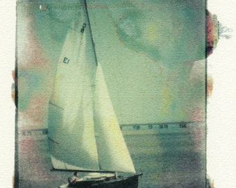 Sail Away, Storm Coming -- Hand-touched print of original negative image transfer, signed and matted
