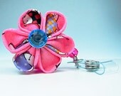 pink ID badge reel kanzashi flower