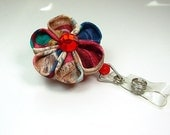 Kanzashi flower ID name badge reel in royal colors