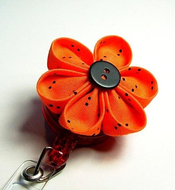 flower kanzashi ID badge reel