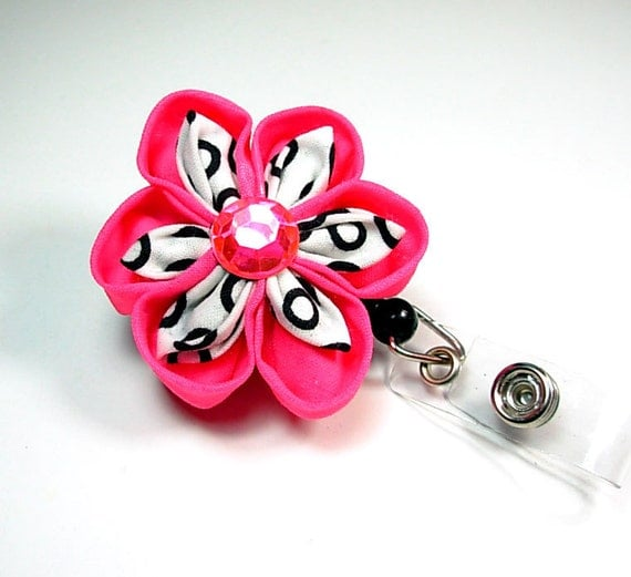 deluxe ID badge reel with handmade Japanese flower in bright pink and black