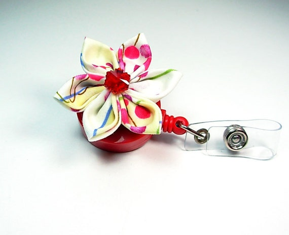 Japanese cherry blossom  ID badge with retractable reel