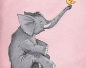Happy Elephant Art Print perfect for Baby Shower or Nursery Art