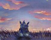Bunnies At Sunset Fine Art Print