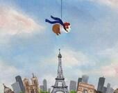 Guinea Pig Over Paris Guinea Pig Art Print