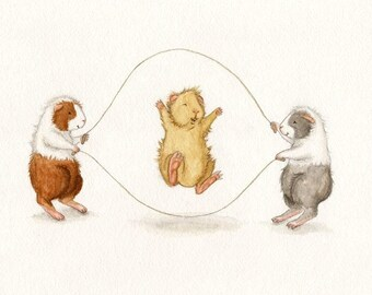 Double Dutch - Cute Guinea Pigs Jumping Rope Art Print