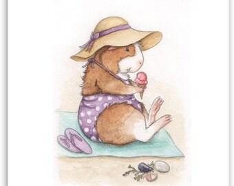 Henrietta at the Beach Guinea Pig Art Print - cute Summer beach decor