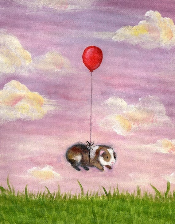 Guinea Pig With Balloon Art Print