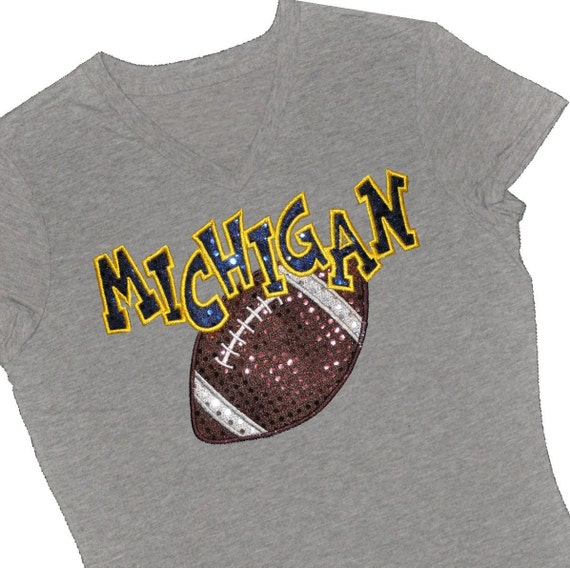Custom FOOTBALL Sequin Applique Spirit Shirt...Personalize With Team and Message