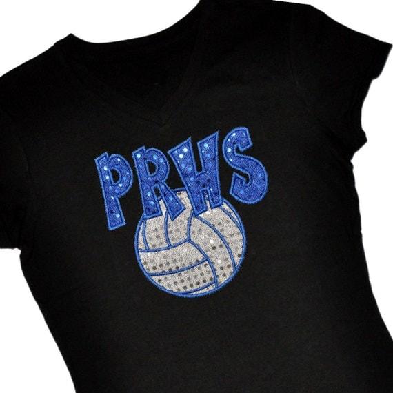 Custom volleyball sequin applique spirit shirt personalize