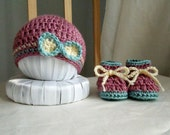 Last Minute Gift - Baby Girl Hat and Booties Set - Blush / Cream / Seafoam- Ready To Ship
