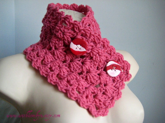 Last Minute Gift Reduced - Lace Neckwarmer in Raspberry w/ Red Handmade Buttons - Ready To Ship