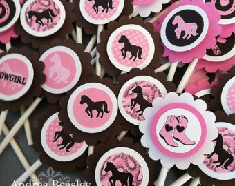 Cowgirl Cupcake Toppers (12)