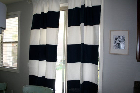 Large Horizontal Stripe Curtains Navy And By Sallyjenseninteriors