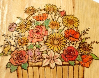20% OFF Flower Basket Decorative Cutting Board Wall Hanging Pyrographed Painted