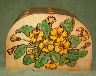 15% OFF Yellow Primrose Wood Pencil Holder Painted Pyrographed