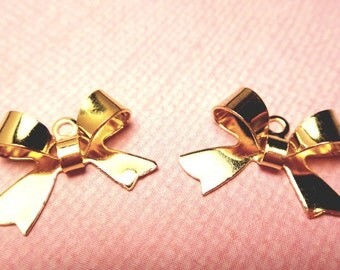 Gold Plated Bow Charms 5pcs