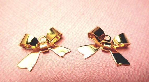Gold Plated Bow Charms 25pcs