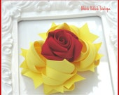 Yellow and Red Belle Boutique Rose Hair Bow BowFairies