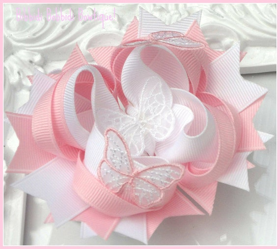 Pink an White Butterfly  Boutique Stacked  Hair Bow BowFairies