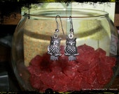 Silver Wise Old Owl Vintage Victorian Goth Gothic Gypsy Renaissance Steampunk Steam Punk Industrial Earrings -Regular Price 8.00