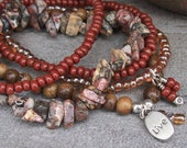 """Shaman Travel  Bohemian Stretch Set of 5 - 7 1/2"""" Bracelets in Leopard Jasper and Brick Red with """"live"""" Metal Charm"""