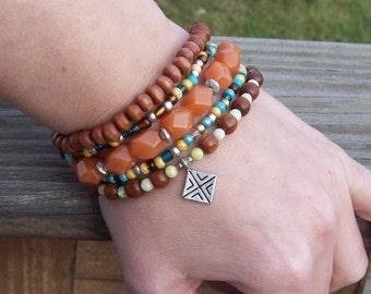 Hippie Bohemian Stack Stretch Bracelets - Wood Bracelets - Aventurine Nugget Gemstones beaded bracelet