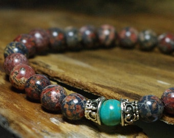 Meditation Bracelet - Shaman Stones - Beaded Stretch Bohemian Bracelet - Leopard Jasper and Magnesite Beaded Bracelet