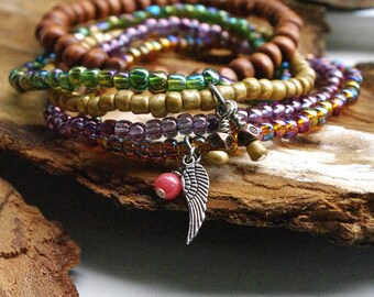 Gypsy Stack Beaded Bracelets with Angel Wing Charm, Wood, Purple, Green, Painted Gold, hippie bracelets, Bohemian stretch beaded bracelets