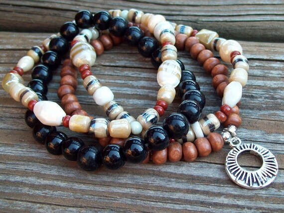 """Spirit of Free Bohemian Bliss in Wood and Pressed Glass Beaded 7 1/2"""" Stretch Stack Bracelets"""