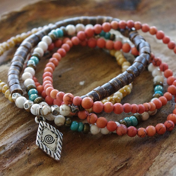 Boho Beaded Bracelets - Calming White and Orange Magnesite - Coconut Heishi Shell - Relieve Anxiety