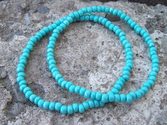 Turquoise Czech Glass Beaded Stretch Stacking Bracelets