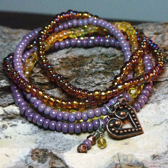 Spring Sale - Copper Heart and Beaded Dangle Stretch Bracelet Stacks  - Purple, Brown and Citrine Czech Glass