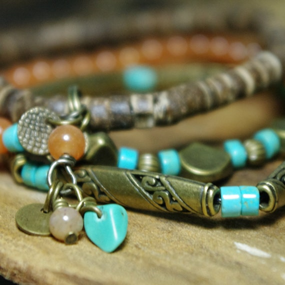 Aventurine and Turquoise - Antiqued Gold Bohemian Rustic Stretch Bracelets
