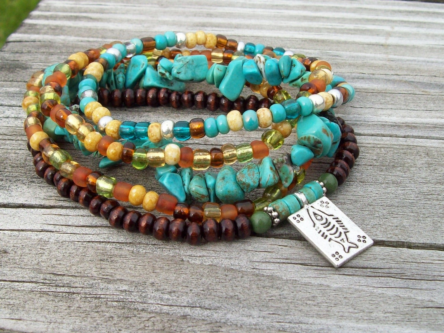 Turquoise Chip Bohemian Stack Bracelets With Lucky Fish Charm