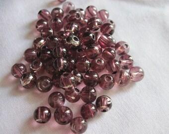 Destash (5044) - Purple silver vein acrylic beads.