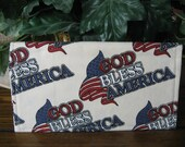 God Bless America Fabric Handcrafted Checkbook Cover