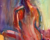 Sitting Nude Watercolor Figure Original Painting 12x16 inches