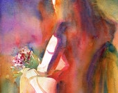 Wildflowers - Sitting Nude Watercolor Fine Art Giclee Print